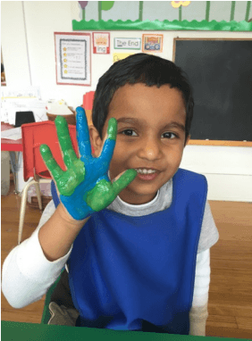 Earth Day painted hands